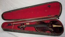 Estate Vintage/Antique Violin Fiddle w/ 2 Bows in an old wood/en case needs work