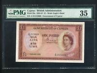 Cyprus:P-35a,1 Pound,1956 * Queen Elizabeth II * PMG VF 35 *