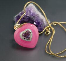 Súper ! Amatista Jade Diamante Colgante corazón 14 Quilates / 585er GG Valor