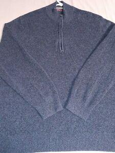 Mens Izod Sweater  Size XXLT XXLarge tall 1/4 zip pullover DARK BLUE 100% cotton