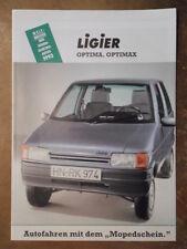 LIGIER OPTIMA & OPTIMAX rare 1992 German Mkt Microcar Sales Brochure Prospekt