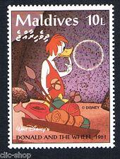 WALT DISNEY UN FRANCOBOLLO MALDIVES DONALD AND THE WHEEL 10L - 1961 nuovo