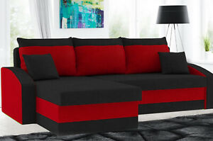 Eckcouch  Schlafsofa Sofa Schlafcouch Ecksofa Couch Federkern - Schwarz/Rot