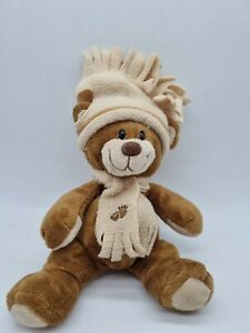 Brown Sugar Plush Toy Bear/hat and scarf bear. 8 inch soft microwave heat pouch