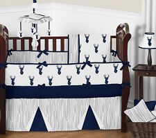 Sweet Jojo Outdoor Woodland Forest Navy Gray Deer Buck Baby Boy Bedding Crib Set