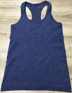 Lululemon Size 6 Swiftly Tech Run Racerback Sapphire Blue / Black Tank Top Shirt