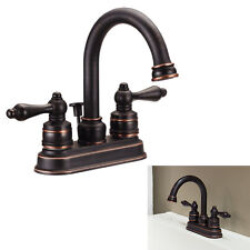 Two Handle High-Arc Bathroom Vanity Faucet Swivel Spout, Oil Rubbed Bronze