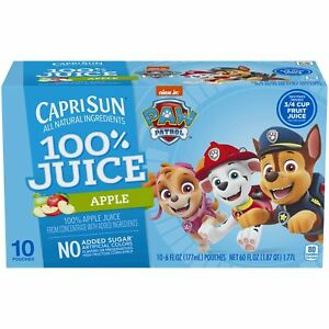 Capri Sun Paw Patrol Apple 100% Juice Drink (6 oz Pouches, 10 Count)