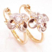 18K Giallo Bianco placcata oro e Zirconia cubica Lady Fiore Orecchini A Cerchio