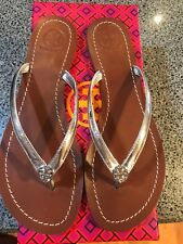 78176c409477e NIB Tory Burch Terra Thong Silver Patent Leather Flip-Flop Sandals 7.5 7 1