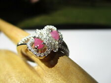 & Cz 925 Sterling Silver Ring 25- Estate Elegant Pink Double Ruby