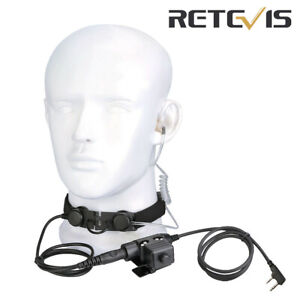 Tactical Throat Mic Headset for Kenwood Baofeng 888S Retevis RT3S Two Way Radio