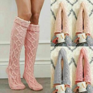 UK Women Over Knee Wool Knit Long Sock Winter Thigh-Highs Warm Socks Stocking