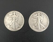 Lot of 2 1945 P D Silver 50c Walking Liberty Half $ Dollar