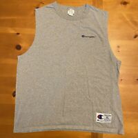 Champion Sleeveless Muscle T Shirt Gray Adult Size XL Embroidered Logo EUC