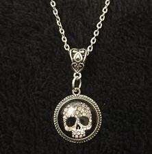 "Sugar Skull Skeleton Cameo Pendant Day Of The Dead Necklace 18"" Steampunk Silver"
