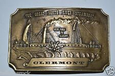 Vintage 1974 Clermont The Great North River Steamboat Brass Belt Buckle Rare