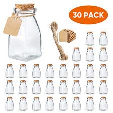 The Square Glass Yogurt Jars,Pudding Jars with cork lids, Dessert Glass jars, 4
