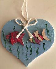 Marine Fish Seaside Sea Hanging Decoration Real Wood Heart Hand Painted