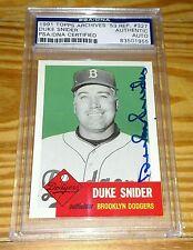 DUKE SNIDER 1991 Topps Archives AUTOGRAPH Dodgers Baseball Card #327 PSA / DNA