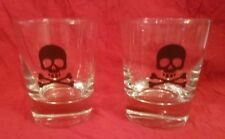 Pair of Skull and Crossbones Double Old Fashioned Glasses