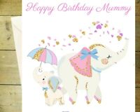 Happy birthday mummy elephant cute daughter glitter detail age flowers card