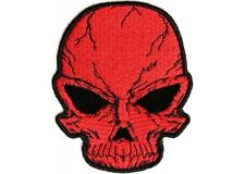 """(B36) Small CRACKED RED SKULL 3"""" x 3.75"""" iron on patch (3194)"""