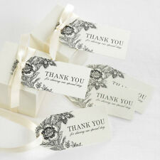 Vintage Floral Ivory Thank You Wedding Favor Tags 25/pk