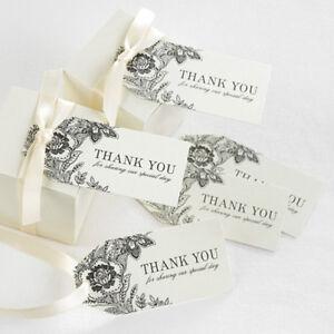 Vintage Floral Ivory Thank You Wedding Favor Tags 25/pk