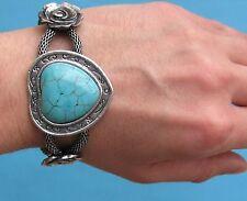 Bellissimo bracciale con rose e cabochion turchese a forma di cuore - Bijoux