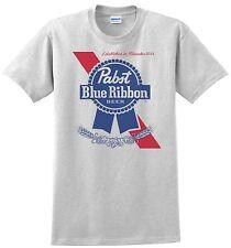 Pabst Blue Ribbon Beer T-shirt.Gray,Khaki,White,Yellow. S-XXXL Free Ship to USA