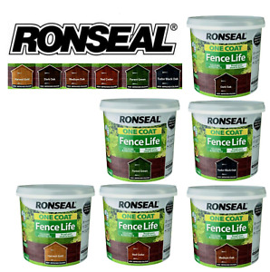 Ronseal 5L One Coat Fence Life Quick Dry Garden Shed & Fence Paint All Colours!!