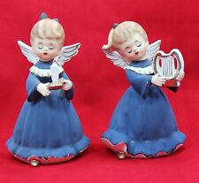 Pair of Vintage 1961 Inarco Holiday Angels, Blue Gowns, Candle & Harp. #E-475