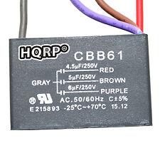 HQRP Capacitor para Harbor Breeze de Ventilador 4.5uf+5uf+6uf, 4-Alambres; CBB61