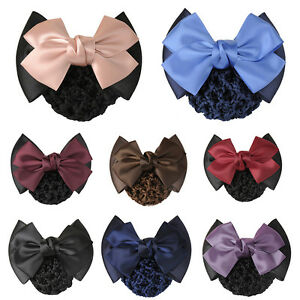 New Bowknot Bun Snood Bow Barrette Women Hair Clip Cover Lady Hair Accessories