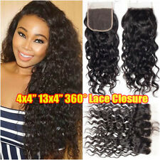 Pre Plucked 13X4 Lace Frontal Closure Peruvian Virgin Human Hair Curly Wave Weft