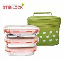 STENLOCK-Rect Food container Lunch Box Mini Stainless steel Airtight 3pcs set