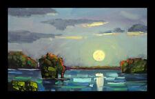HAWKINS Large Moon Nocturne Lake Landscape Impressionism Oil Painting Art Signed