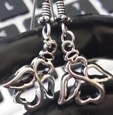 Silver Guardian Angel Dangle Drop Earrings Hook Back