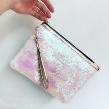 Women Glitter Sequins Handbag Party Evening Clutch Bag Wallet Purse Double Color