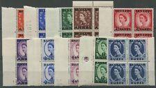 BAHRAIN: 1952-54 (SG.80-89) ½a. - 1r. QE2 Overprints, complete set in blks of 4