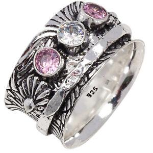 "Pink Kunzanite Gemstone Wide Band Spinner Medatation 925 Silver Jewelry Ring ""9"""