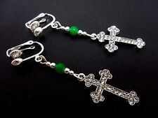 A PAIR OF CRYSTAL CROSS & GREEN JADE BEAD CLIP ON EARRINGS. NEW.
