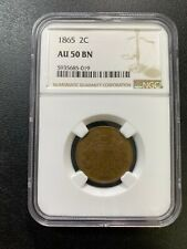 1865 TWO CENT PIECE NGC AU-50 - ABOUT UNCIRCULATED - TYPE - CERTIFIED SLAB - 2C