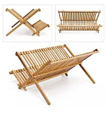 2 Tier Foldable Wooden Bamboo Dish Drainer Kitchen Sink Folding Wood Plate