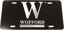 Wofford College logo Diamond Etched on Gloss Black Aluminum License Plate