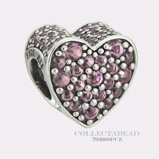 Authentic Pandora Sterling Silver Dazzling Heart  Pink CZ Bead 792069PCZ
