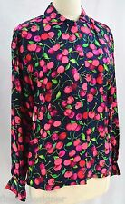 MAGGY LONDON BLOUSE 100% SILK Cherries Cherry SHIRT Button up Top L/S SIZE 6 NEW