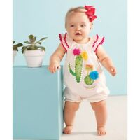Mud Pie E8 Desert Fun Cactus Bloom Pom-Pom Bubble One-Piece 1132397 Choose Size