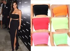 New Womens Plain Boob Tube Strapless Bandeau Stretch Vest Bra Crop Top